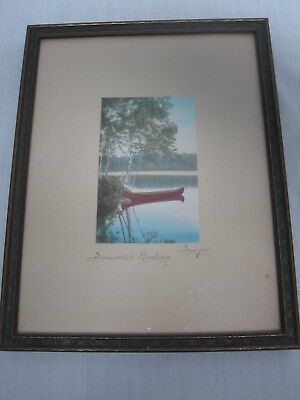 """Signed Charles Sawyer """"summers Greeting"""" Red Canoe Hand Tinted Framed Photograph"""