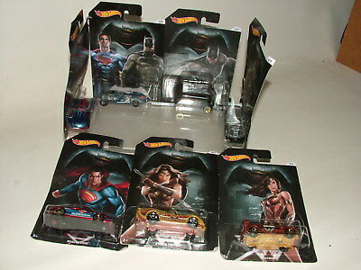 Hot Wheels Diecast Complete Set 1-7 Superman V Batman Wonder Woman Moc Carded