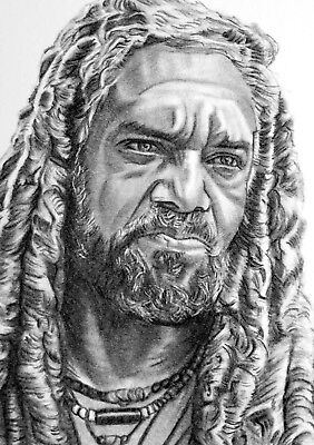 ORIGINAL ACEO sketch card WALKING DEAD Khary Payton KING EZEKIEL