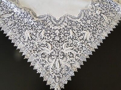 Antique Linens-Circa 1900,good Chemical Lace Tablecloth W/birds