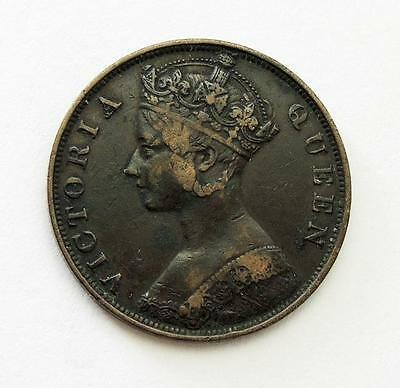 HONG KONG One Cent COIN 1877 China QUEEN VICTORIA