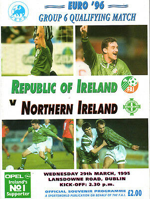 1995 Euro 96 Qualifier Republic Of Ireland v Northern Ireland Football Programme