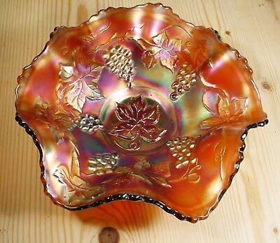 Grape & Vine Leaf Carnival Glass Bowl