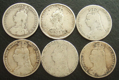 Sterling Silver Shilling Lot, Victoria JH Date Run of 6 Coins 1887-1892 : 31.5g