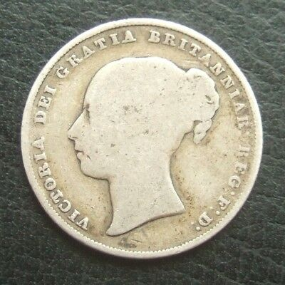 1842 One Shilling : Queen Victoria Young Head Sterling Silver Coin