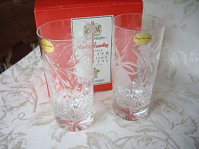 Royal Brierley Lead Crystal Fuchsia Pattern Highball Large Tumbler Boxed Signed