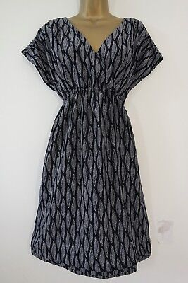 H&m Maternity Navy Ivory Leaf Feather Print Dress Size L 16 18 Tea Tunic Wrap