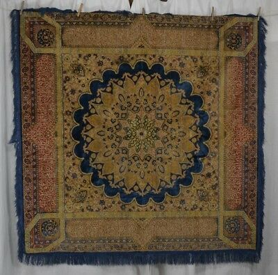 tapestry throw spread table woven plush Victorian 60 in. sq antique original