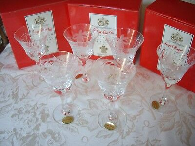 Six Royal Brierley Lead Crystal Fuchsia Pattern Sherry Glasses Boxed and Signed