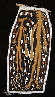 "Australian Aboriginal Bark Painting ""Wamut is Ready to Fight.."" by Paddy Fordham"
