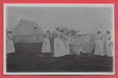 Ww1, Red Cross Nurses In Field With Tents, At Hornby Castle? Nr. Bedale, Rp.