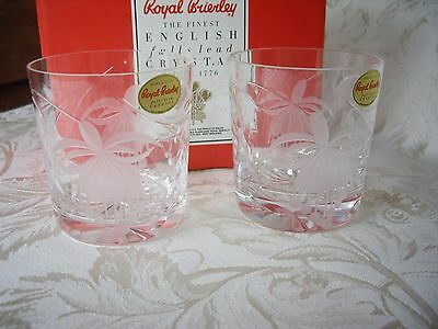 Royal Brierley Lead Crystal Fuchsia Pattern Small Tumblers 6 Oz Boxed and Signed