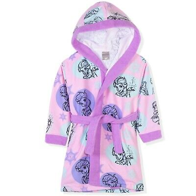 Disney Frozen Elsa Characters Girls Bathrobe Fleece Dressing Gown Towel 2-8yrs