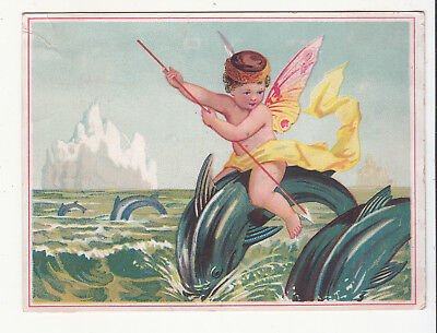 Great London Tea Company Boston MA Naked Cherub Dolphins Wings  Vict Card c1880s