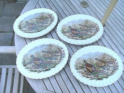 Set Of 4 Liverpool Road Pottery Oval Plates With Pheasants