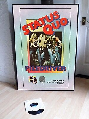 Status Quo Pile Driver Promotional Poster Lyric Sheet,pop Rock,70's,glam,bowie