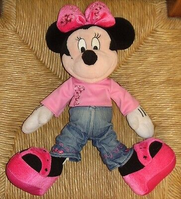 Vintage Disney Disneyland Paris Minnie Mouse Plush Soft Toy CH0304 Denim Pink