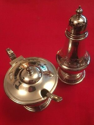 Vintage Silver Plated Pepper Pot & Salt With Spoon c.1960's