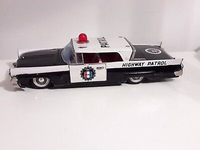 1958 Bandai Highway Patrol Lincoln Continental Mark Iii ,tin Friction Japan 12""