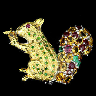 Awesome Citrine Rhodolite Emerald Ruby Gems 925 Sterling Silver Squirrel Brooch