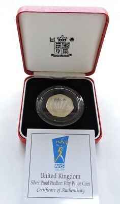 1998 Royal Mint Silver Proof Piedfort 50p NHS Cased With COA