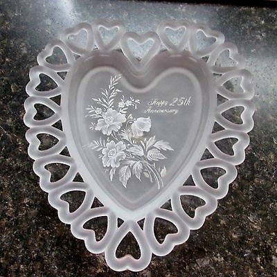 Viking Stain Glass Open Edge Heart Shape Plate 25Th. Anniversary Hand Painted