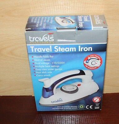 Travels Compact Travel Steam Iron 230/110V Foldable Handle
