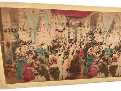 1850s/60s Stereoview Colour Tinted Concert in Paris Bar France (nice image)