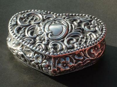 Sterling Silver Antique Hm 1876 Heart Shaped Embossed Box By Henry Manton