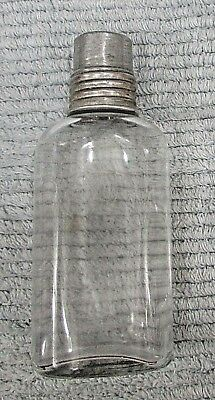 Vintage glass pocket flask small liquor bottle w cork aluminum screw cap FREE SH