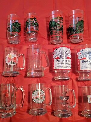 Budweiser lot of twelve (12) Beer glasses collection.  Mugs, steins