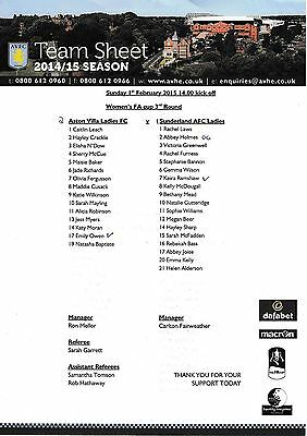 Teamsheet - Aston Villa Ladies v Sunderland Ladies 2014/15 Women's FA Cup