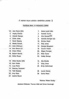 Teamsheet - Aston Villa Ladies v Everton Ladies (Undated - 17th May)