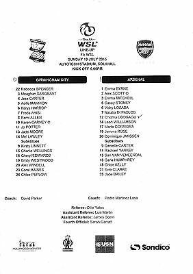 Teamsheet - Birmingham City Ladies v Arsenal Ladies 2015/16