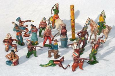 COLLECTION JOB LOT LEAD COWBOYS & INDIANS CHARBENS BRITAINS x 21