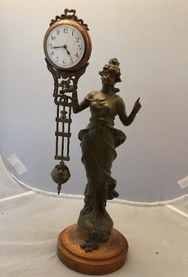 Old Art Nouveau Spelter Figure Mystery Clock On Turned Wood Base