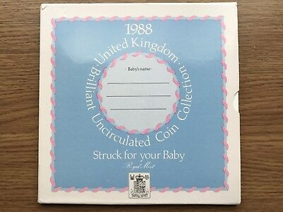 """1988 UK Brilliant Uncirculated Coin Collectors Set -Struck For Your Baby- """"Boy"""""""