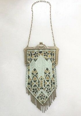 Antique Vintage Mandalian Mfg Enamel Mesh Flapper Purse