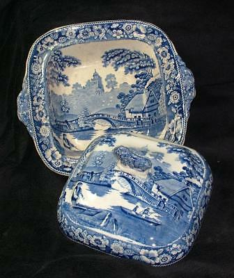 EARLY 1800's WILD ROSE BLUE & WHITE CHINA TUREEN LION FINIAL TO THE COVER
