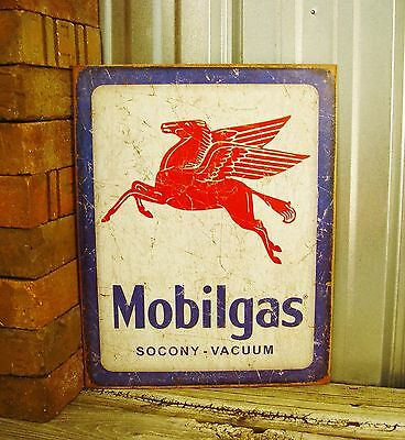 Mobilgas Mobil Oil Gas Pegasus Socony Metal Tin Vintage Style Sign New Garage