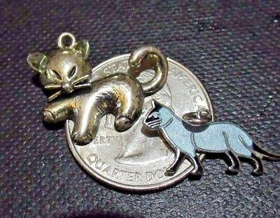 Vintage Sterling Silver *Set of 2 Kitty Cats 1 Wells Enamel Siamese Cats* Charms