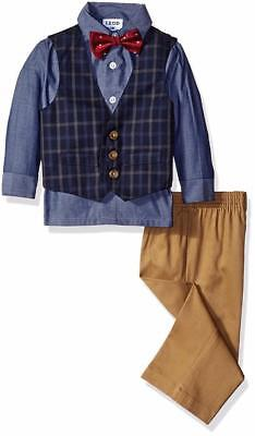 "NEW IZOD Baby Boys ""BLUE RED & CAMEL"" 4pc Size 24M Vest Suit Bow-Tie Pants NWT"