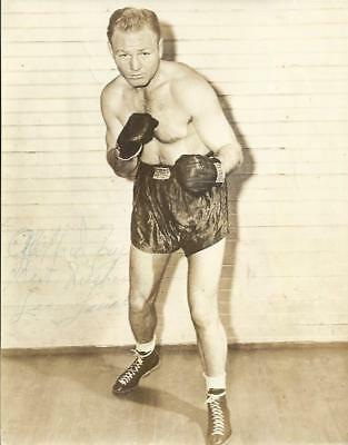 Lee SAVOLD (1916-1972) Heavyweight signed vintage Boxing 7x9 Photo AFTAL