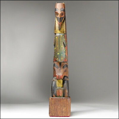 Vintage Native Northwest Alaska Haida or Tlingit Carved Cedar Totem Pole