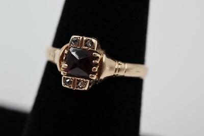 Victorian 10K Rose Gold Rose Cut Diamond & Bohemian Garnet Antique Ladies Ring