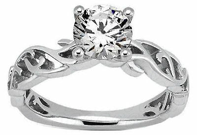 1.01 carat Round Diamond Engagement Solitaire 14k White Gold E VS1 GIA certified