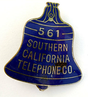 OLD Scarce SOUTHERN CALIFORNIA TELEPHONE CO. Enamel BLUE BELL Badge / Pin-Back