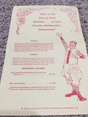 Vintage McDonalds Birthday Party Flyer- RARE