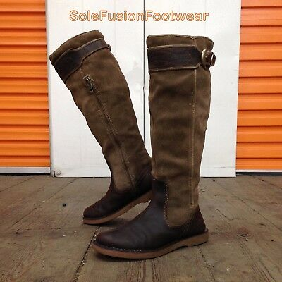 Timberland Womens Cabot Leather Boots Brown size 5.5 Tall Knee High Zip Up 38.5