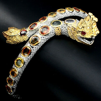 Awesome Top Fancy Colors Sapphire 2 Tone 925 Sterling Silver Thai Dragon Bangle